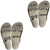 OKBY Carta de Calcetines - 2 Piezas de la Novedad Stocking Divertido para Hombres y Mujeres, no Molestar Estoy Jugando Calcetines de algodón Fortnite (Color : Gris)