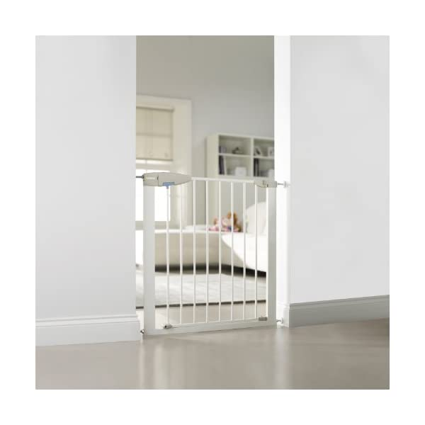Lindam Sure Shut Porte Pressure Fit Safety Gate, White, 76-82 cm Lindam Easy close, push to shut closing mechanism; squeeze and lift handle for easy one handed adult opening Four point pressure fit - U shaped power frame provides solid pressure fitting; pressure indicator assures baby gate is installed correctly One way opening for use on bottom of stairs; two way opening for use in doorways providing maximum flexibility; optional second lock at base of baby gate 2
