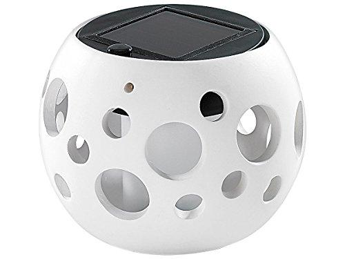 Lunartec Solar Tischlampe: Solar-LED-Leuchte Kugel aus edlem Ton, weiß (LED-Deko-Solarlampen) (Milchglas-zylinder)