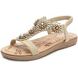 Coins en Sandales Plates d'Été Chaussures Femmes Sandales Fleurs Strass Thong Sandale de Bout Ouvert