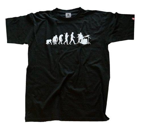 Shirtzshop Erwachsene T-Shirt Original Drummer Schlagzeuger Evolution, Schwarz, M, sshop-evodrum-t