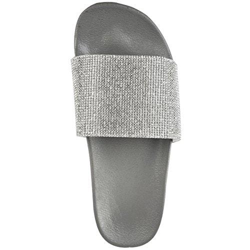 Damen Pantoletten - Offene Sandalen mit Glitzersteinen - flache Sohle Grau