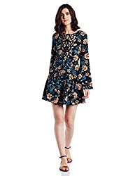 Forever 21 Womens Cotton A-Line Dress (00217351023_0021735102_ BLACK/TEAL_3/M)