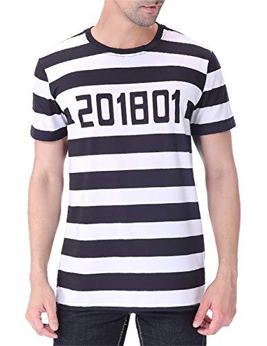 COSAVOROCK Men's Prisoner Costume Striped T-Shirts (XXL)
