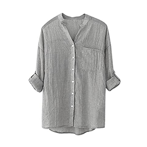 Women Blouse ,Women Cotton Solid Long Sleeve Shirt Casual Loose Blouse Button Down Tops (L, Gray)