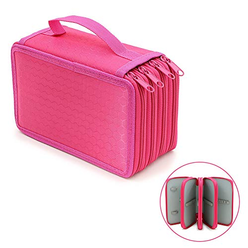 Large Capacity 4 Portable Pencil Layers Pencil Bags, YFZYT 72 Slots Insert Durable Sketch Square Pencil Stationery Box for School or Office (Pencil Not Included) - Red Rose # 72