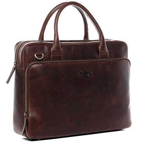 Leder-laptop-aktentasche (SID & VAIN Laptoptasche echt Leder Ryan XL groß Businesstasche 15 Zoll Laptop Umhängetasche Aktentasche XL braun)