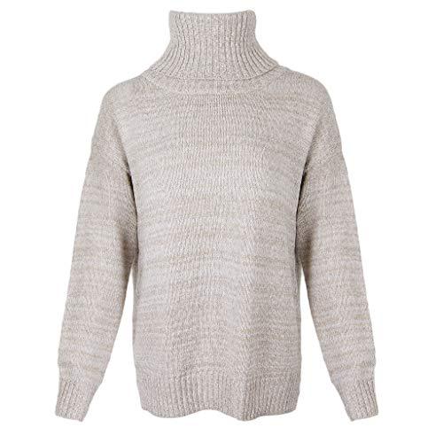 Baoblaze Frauen übergroße Rollkragen Chunky Knit Sweater Pullover Lange Ärmel - Khaki, L - Chunky Knit Rollkragen