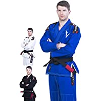Kimono Vector Attila Series de Jiu Jitsu con cinturón blanco, ligero, 100% algodón, A4, Azul