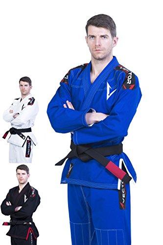 Foto de Kimono Vector Attila Series de Jiu Jitsu con cinturón blanco, ligero, 100% algodón, A1, Azul