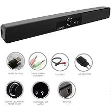 LONPOO 10W Mini USB Barra de sonido envolvente con Entrada AUX, Alta Calidad de Sonido para PC Sobremesa / Laptop, Smartphones iPhone/ iPad/ Tablets y MP3 (Negro)