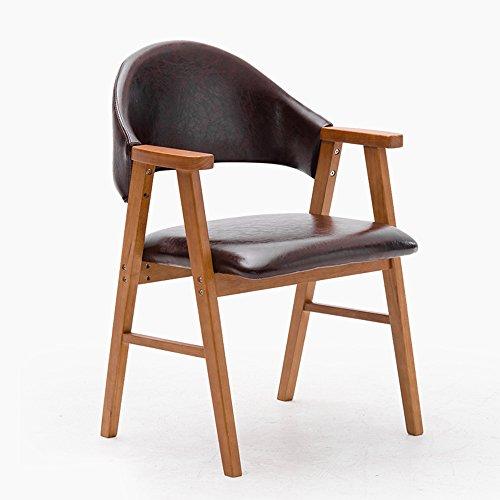 DEO Bureau d'ordinateur Chaise de salle à manger en bois massif avec dossier d'accoudoir de chaise d'étude d'accoudoirs beaucoup de couleurs durable (Couleur : Marron foncé, taille : A)