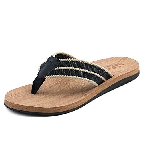 WXFF Infradito Inglese Estivo Pantofole in Legno da Uomo Fodera Anti-Scivolo con Clip Antiscivolo Resistente all'Usura (Color : Yellow 43)