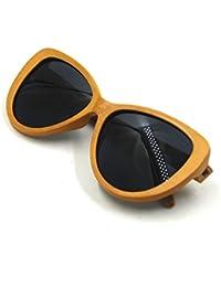 Cat Eye Bamboo Frame Silvery Polarized Lenses Men Women Sunglasses (Cat Eye - B01J9E3GTO