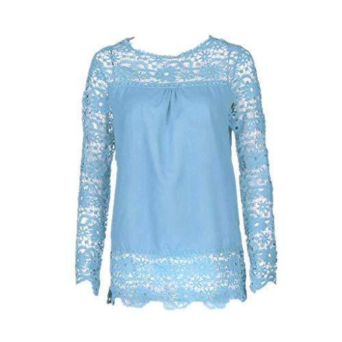 JUTOO Mode Damen Langarm Shirt Casual Spitzenbluse T-Shirt(Hellblau,EU:50/CN:5XL)