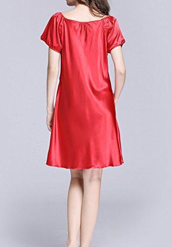 Jusfitsu Femmes Été Manches Courtes Chemise De Nuit Satin Peignoir de Bain Nuisette Pyjama V¨ºtement de Nuit Grande Taille Rouge