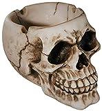 com-four Schaurig gruseliger Aschenbecher in Form eines Totenkopfschädels für Verschiedene Anlässe (01 Stück - Schädel Natur)