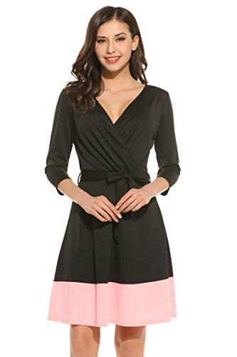 Meaneor Damen tiefen V-Ausschnitt Sommerkleid Vintage Cocktailkleid Polka Dots Tailliert Jerseykleid Stretch Knielang Rosa