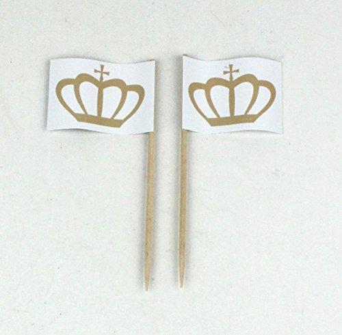 Buddel-Bini Party-Picker Flagge Krone Königin Queen Hochzeit Papierfähnchen in Profiqualität 50 Stück Beutel Offsetdruck Riesenauswahl aus Eigener Herstellung