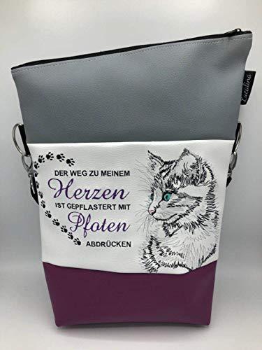Handtasche Herz Pfoten Katze Tasche Foldover Schultertasche