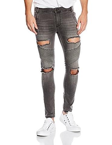 SikSilk Herren Jeans Extreme Biker Skinny Denims, Schwarz-Black (Washed Black),