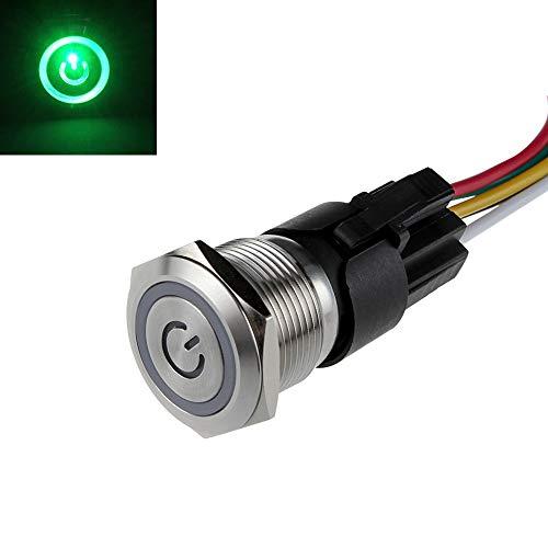 SENZEAL Druckknopfschalter Schalter Taster Edelstahl 12v LED Angel Eye Kopf für 16mm 0,63