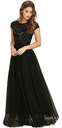 Royal Export Women\'s Black Georgette Party Wear Gown (Large)