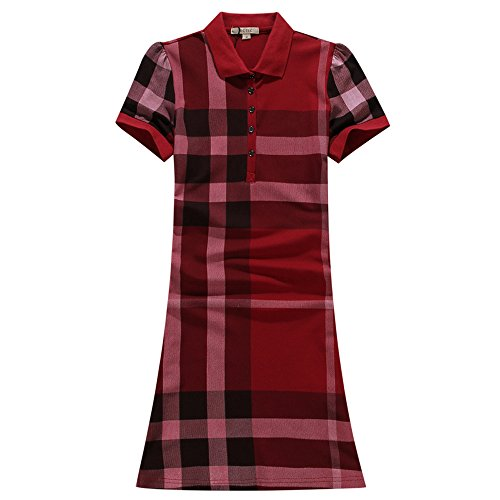 ECTIC Donna Women Casual Playwear Dresses Classic style dress Size S-XXL B33252 Red