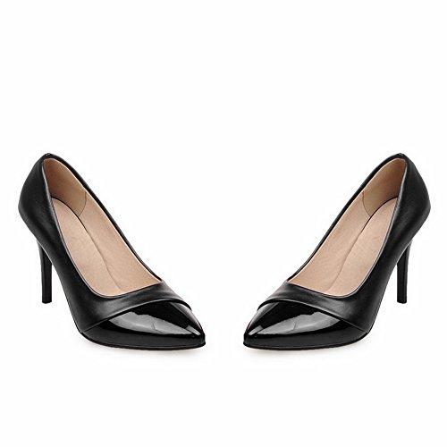 Adee Femme spikes-stilettos brevet Chaussures Pompes en cuir Noir - noir