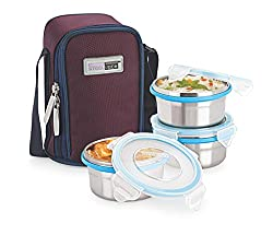 Steel Lock Airtight & Leak Proof Stainless Steel Lunch Box/Meal Box/Tiffin Box With Insulated Bag, 3 pc Set, Assorted Color