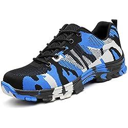 PAMRAY Chaussures Securite Homme Chaussures Travail Embout Acier Femme Bottines Lacets Trekking Randonnee Baskets Plateform Camouflage de Bleu 46