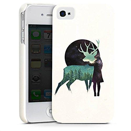Apple iPhone X Silikon Hülle Case Schutzhülle Hirsch Mädchen Mond Premium Case glänzend