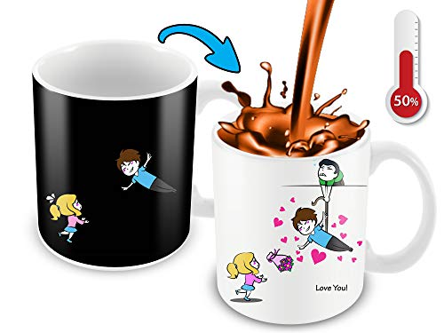 Kaffeebecher, wärmeempfindlich, Farbwechsel, lustige Kaffeetasse, fliegendes Cartoon-Paar-Design, lustige Geschenkidee (Witze Lustige Halloween-zitate)