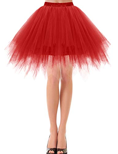 bbonlinedress Kurz Retro Petticoat Rock Ballett Blase 50er Tutu Unterrock Red XL