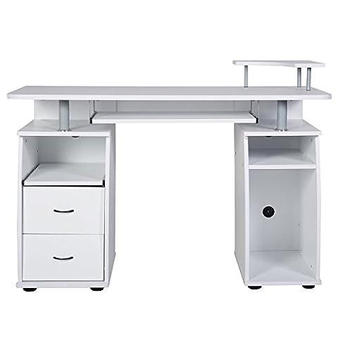 Schreibtisch Computertisch Bürotisch PC Tisch mit Druckerablage, Tastaturauszug,2 Schubladen und MonitorplattformXXL(Farbwahl)