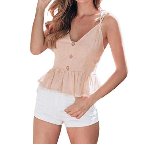 XuxMim Frauen Mode Lässig Camis Sleeveless Crop Einreiher Rüschen ()