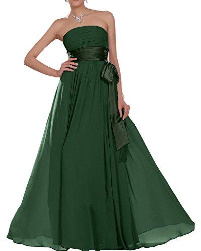 Missdressy Damen Elegant Chiffon Lang Satin Traegerlos Band Faltenwurf Hochzeitsgast Kleider...