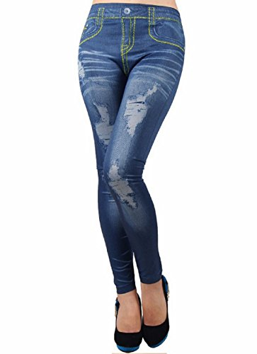 (Blau) Leggings Damen Jeans zerrissene trägerlosen Pantacollant One Size elastifizierten Klebstoff Geschenkidee