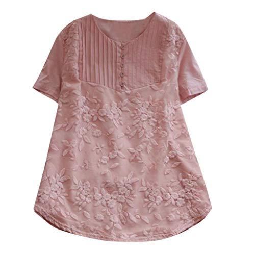 ESAILQ Frau LäSsige Lose Feste Oansatz Shirt Kurzarm Baumwolle Stickerei Top(Small,Rosa)