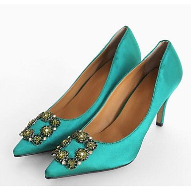 Wuyulunbi@ Scarpe da donna in gomma di seta Primavera Estate della pompa base scarpe matrimonio Stiletto Heel Punta per matrimonio Casual verde ROSA VIOLA Nero Grigio Rosa