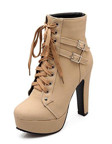 Minetom Mujer Moda Otoño Invierno Puntera Redonda Estiletes Cremallera Lace-Up Tobillo Botas Color Sólido Zapatos de Tacon Beige EU 38