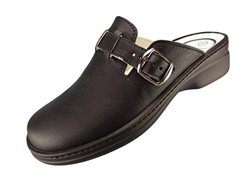 Algemare Damen Clog Nappaleder 'Black' mit waschbarem Sani-pur Wechselfußbett Pantolette 5922_0101 Sandalette, Größe:38