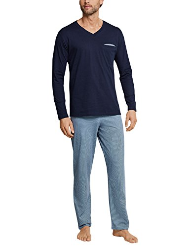 Schiesser Herren Zweiteiliger Schlafanzug Anzug Lang V Neck Blau (Dunkelblau 802) X-Large (Herstellergröße 054)