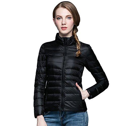 GWELL Damen Ultra Leicht Daunenjacke Winter Mantel Übergangsjacke schwarz M