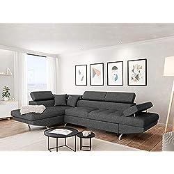 UsineStreet Canapé d'angle Gauche Rio Convertible avec Coffre Tissu Gris foncé