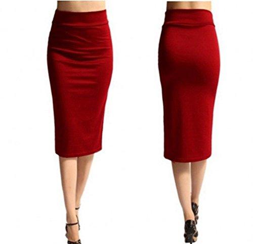 DAY.LIN Rock Damen Langer Rock Lange Röcke Frauen-feste hohe Taille dünne dehnbare dünne dünne Knie-Länge Bleistift-Röcke (Rot, S)