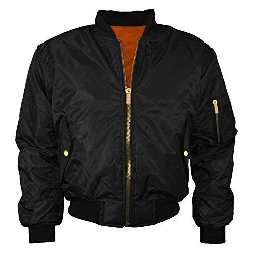 juicy-trendz-womens-ladies-classic-retro-zip-up-harrington-jacket-biker-bomber-coat-black-m
