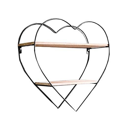 LXDDP Wandregal Einheit - Moderne dekorative schwimmende Regale Regale aus Holz und schwarzem Metall - Hängende Regale für Küche Schlafzimmer Wohnzimmer Dekor - Runde Holz-finish Stuhl