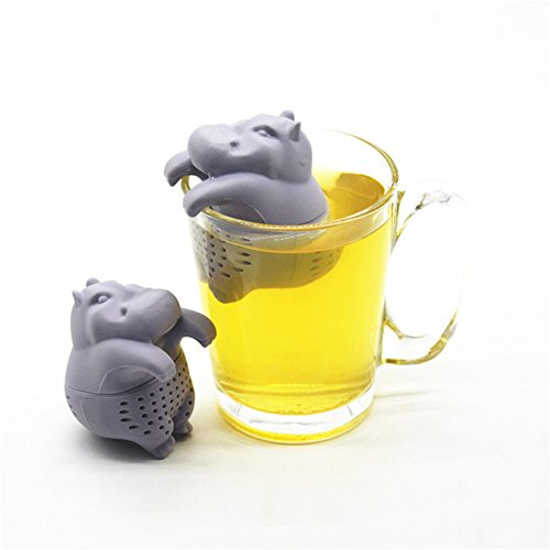 HUVE infusor de te/infusionador/colador te/Filtro te/infusores de te, Hecho de Silicona 100% alimentaria Libre de BPA, infusor en Forma de Hipopótamo