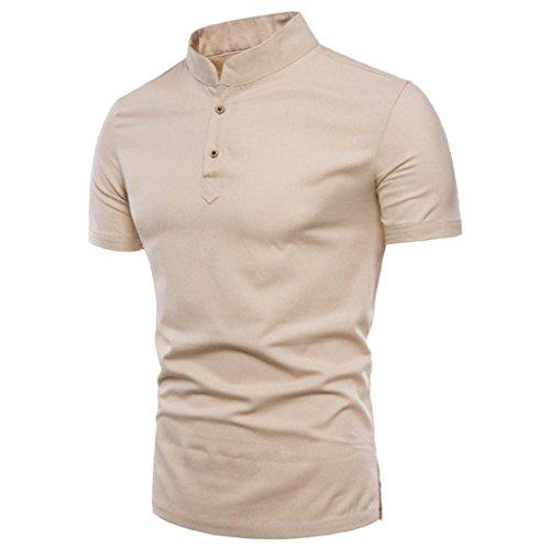 Herren Shirt, Rundhalsausschnitt Kurzarm Einfarbige BasicFitness Atmungsaktiv Sweatshirt T-Shirt mit Kragen in vielen Farben Größen s-3xl (XXXL, Beige)